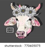 vector cow with flower. hand... | Shutterstock .eps vector #770605075