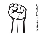 raised hand with clenched fist. ... | Shutterstock .eps vector #770607055