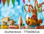 cane caramel  in a glass jar.... | Shutterstock . vector #770608216