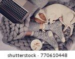 cozy home  warm blanket  hot... | Shutterstock . vector #770610448