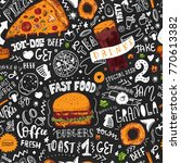 fast food seamless pattern in... | Shutterstock .eps vector #770613382