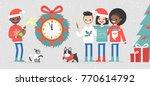 a group of interracial friends... | Shutterstock .eps vector #770614792