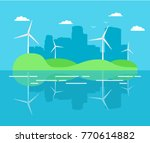 city power plant from turbines... | Shutterstock .eps vector #770614882