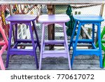 colorful vivid chairs painted... | Shutterstock . vector #770617072