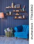 christmas living room corner... | Shutterstock . vector #770618062