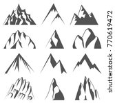 set of mountains shapes... | Shutterstock .eps vector #770619472