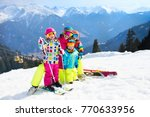 family ski vacation. group of... | Shutterstock . vector #770633956