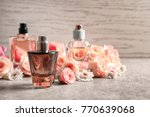 bottles of perfume with flowers ... | Shutterstock . vector #770639068