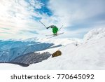 good skiing in the snowy... | Shutterstock . vector #770645092