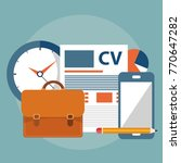 cv  job search items. flat... | Shutterstock .eps vector #770647282