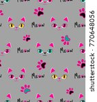 meow seamless pattern. girlish... | Shutterstock .eps vector #770648056