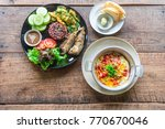healthy food  cooked brown rice ... | Shutterstock . vector #770670046
