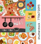 different ingredients and food... | Shutterstock .eps vector #770672095