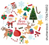 christmas characters and... | Shutterstock .eps vector #770674852