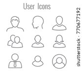 user icon set w man  woman  and ... | Shutterstock .eps vector #770677192