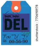 delhi airline tag design.... | Shutterstock .eps vector #770698978