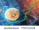 Small photo of Bitcoin value rising and financial investment upswing. Rising on upswing for profits and trading USD.