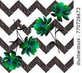 fantasy green flowers on... | Shutterstock .eps vector #770728672