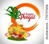 pongal  tamil harvest festival  | Shutterstock .eps vector #770737606