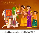 vector design of happy pongal... | Shutterstock .eps vector #770757922