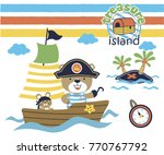 cute animals on sailboat ... | Shutterstock .eps vector #770767792