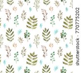 watercolor floral  seamless... | Shutterstock . vector #770775202