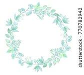 watercolor green wreath. hand... | Shutterstock . vector #770782942