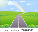 asphalt road in the green... | Shutterstock . vector #77078503