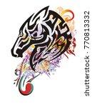 grunge beautiful horse head... | Shutterstock .eps vector #770813332