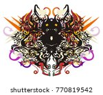 scary tribal colorful butterfly ... | Shutterstock .eps vector #770819542