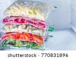 bags with frozen vegetables in... | Shutterstock . vector #770831896