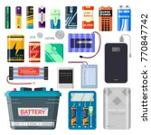 lithium batteries set.... | Shutterstock .eps vector #770847742