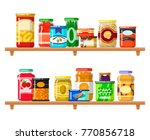 canned food set. meal preserved ... | Shutterstock .eps vector #770856718