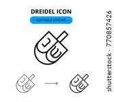 dreidel vector line icon with... | Shutterstock .eps vector #770857426