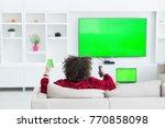 young handsome man in bathrobe... | Shutterstock . vector #770858098