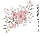 watercolor drawing of twig with ... | Shutterstock . vector #770868826