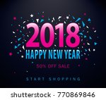 happy new year sale  typography ... | Shutterstock .eps vector #770869846