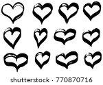 hand drawn hearts set. love... | Shutterstock .eps vector #770870716