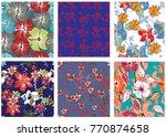 vector seamless pattern flowers ... | Shutterstock .eps vector #770874658