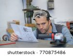engineer planning project with... | Shutterstock . vector #770875486
