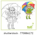 fairy girl with wings in... | Shutterstock .eps vector #770886172