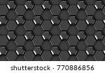 3d tiles black hexagon with... | Shutterstock . vector #770886856