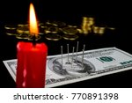 needles stuck in a dollar bill... | Shutterstock . vector #770891398