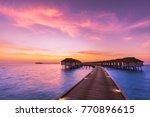 maldives island sunset. water... | Shutterstock . vector #770896615