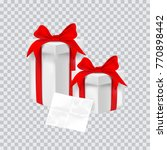 gift box with red ribbon.... | Shutterstock .eps vector #770898442