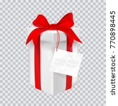 gift box with red ribbon.... | Shutterstock .eps vector #770898445