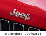 Small photo of Rome, Italy - September 7, 2017: Jeep logo on red car. Jeep is a brand of American automobiles that is a division of FCA US LLC, a wholly owned subsidiary of Fiat Chrysler Automobiles