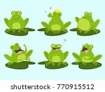 Set Of Cute Cartoon Frogs. Cut...