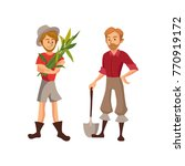farmers harvesting crop cartoon ... | Shutterstock .eps vector #770919172