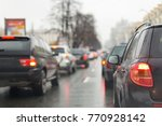 cars in a traffic jam on a city ... | Shutterstock . vector #770928142